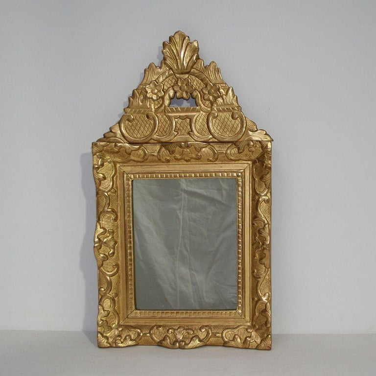 Very nice carved giltwood mirror. Beautiful weathered mirror-glass,