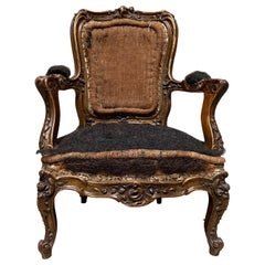 19th Century French Louis XV Style Carved and Giltwood Childs Chair