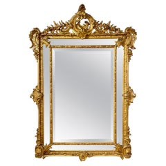 19th Century French Louis XV Style Carved and Giltwood Cushion Mirror