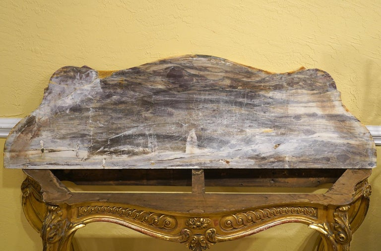 19th Century French Louis XV Style Carved Giltwood Marble-Top Console Table For Sale 7