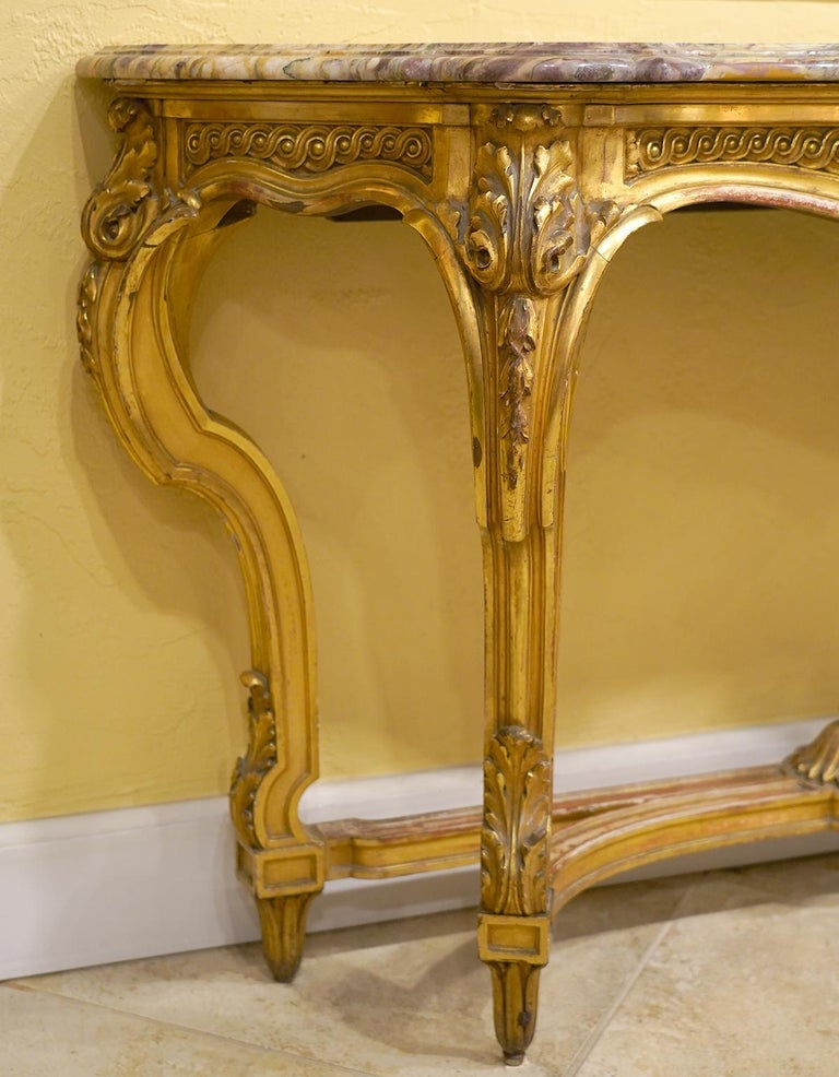 19th Century French Louis XV Style Carved Giltwood Marble-Top Console Table In Good Condition For Sale In Ft. Lauderdale, FL