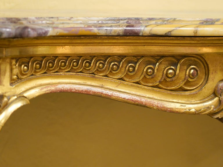 19th Century French Louis XV Style Carved Giltwood Marble-Top Console Table For Sale 1