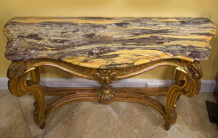 19th Century French Louis XV Style Carved Giltwood Marble-Top Console Table For Sale 2