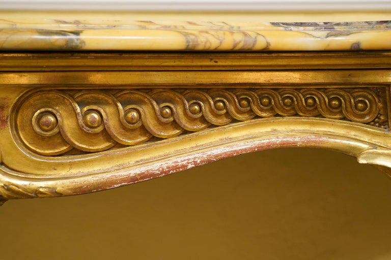 19th Century French Louis XV Style Carved Giltwood Marble-Top Console Table For Sale 3