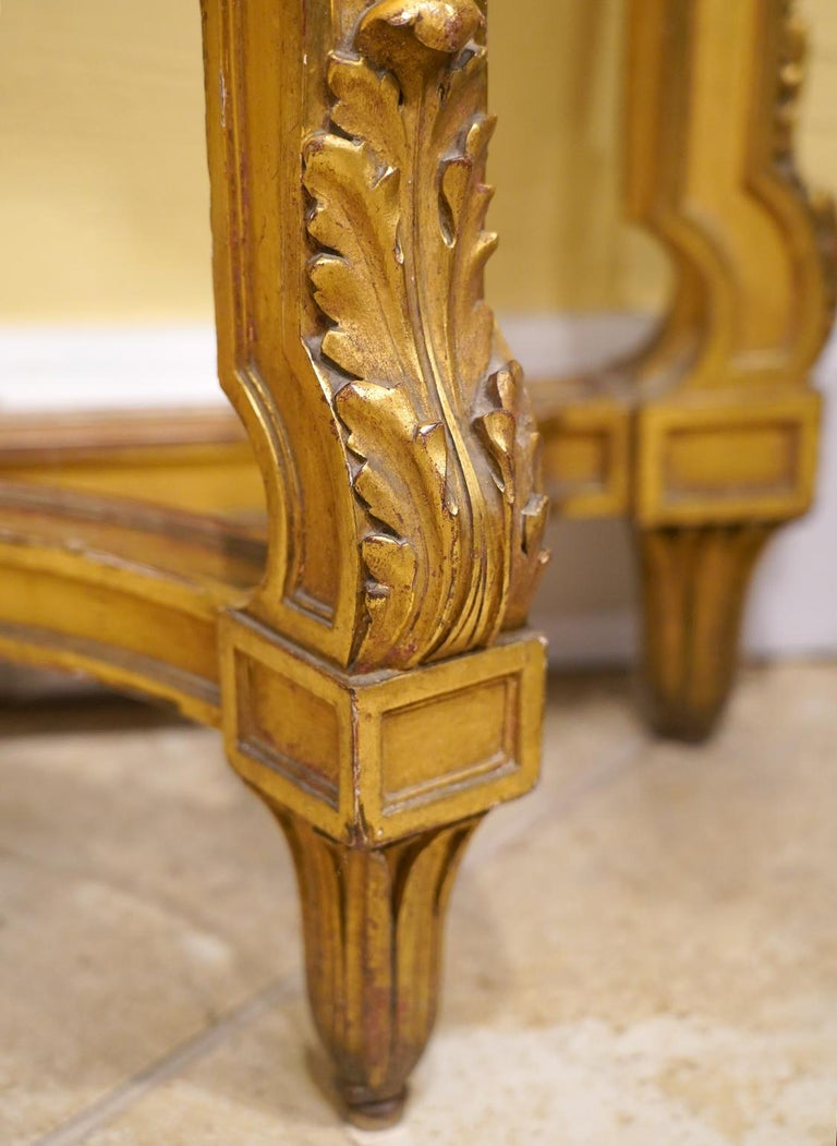 19th Century French Louis XV Style Carved Giltwood Marble-Top Console Table For Sale 4