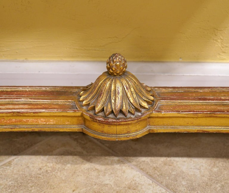19th Century French Louis XV Style Carved Giltwood Marble-Top Console Table For Sale 5