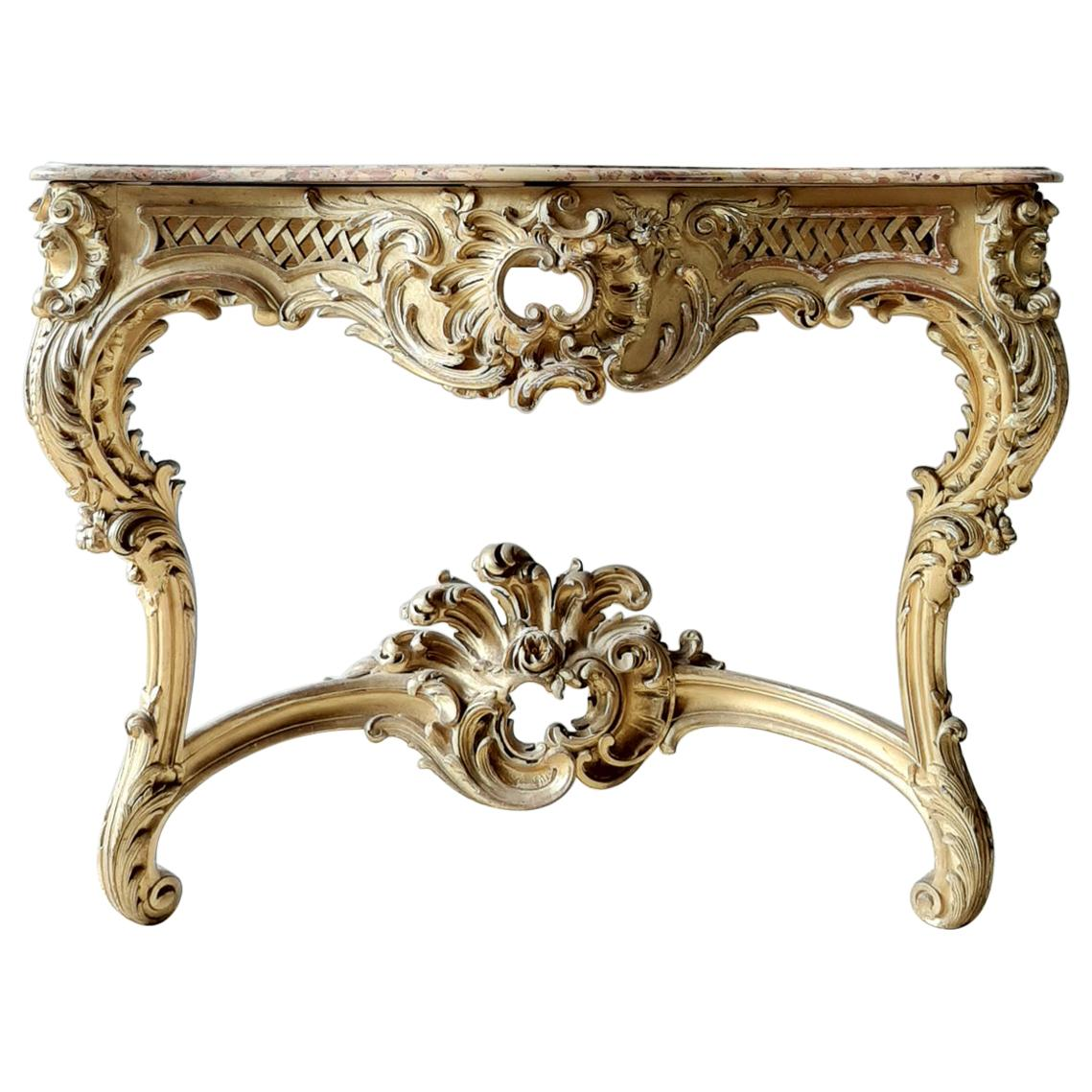 19th Century French Louis XV Style Carved Giltwood Console Table with Marble Top