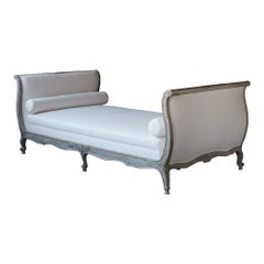 19th Century French Louis XV- Style Daybed with Distressed Finish