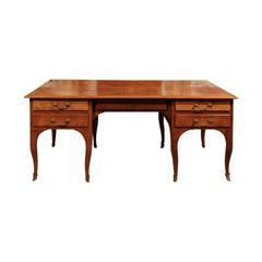 19th Century French Louis XV Style Fruitwood Partner's Desk with Leather Top