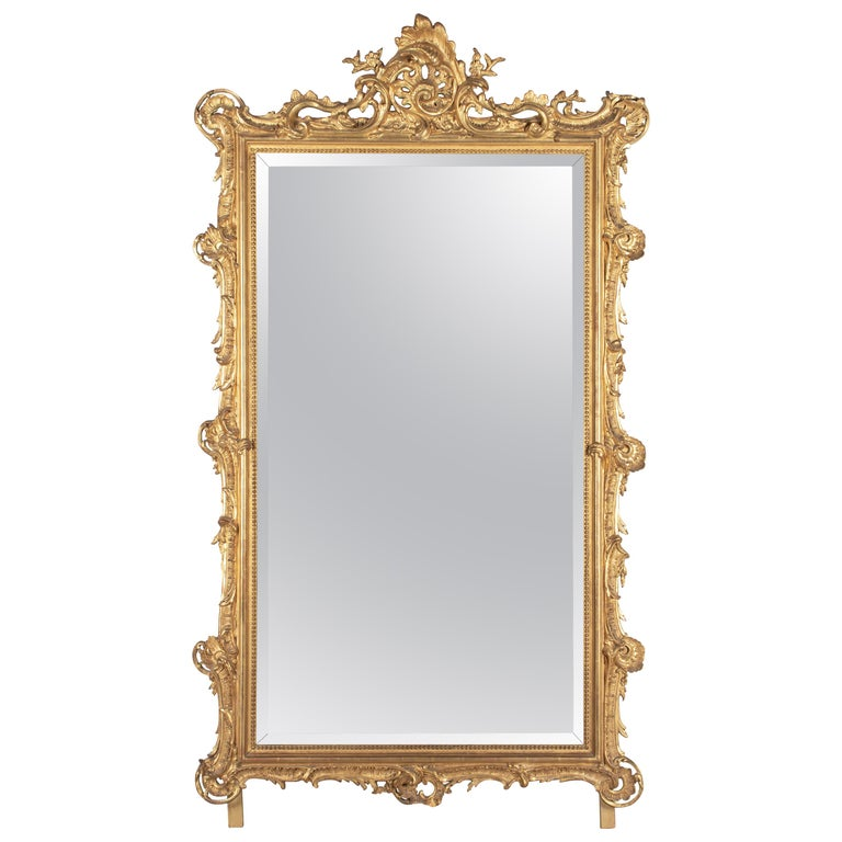 19th Century French Louis XV Style Gilded Mirror For Sale