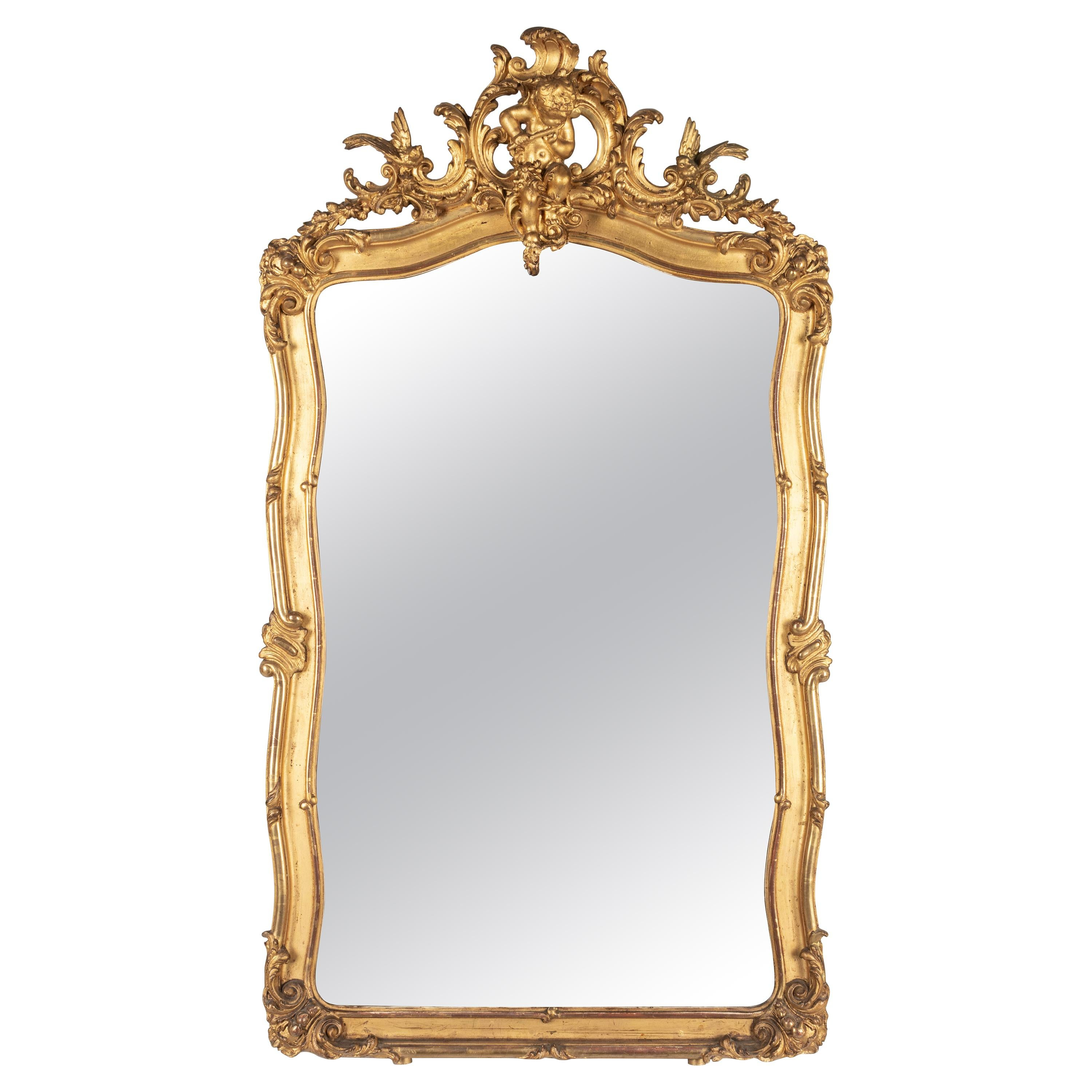 19th Century French Louis XV Style Gilded Mirror
