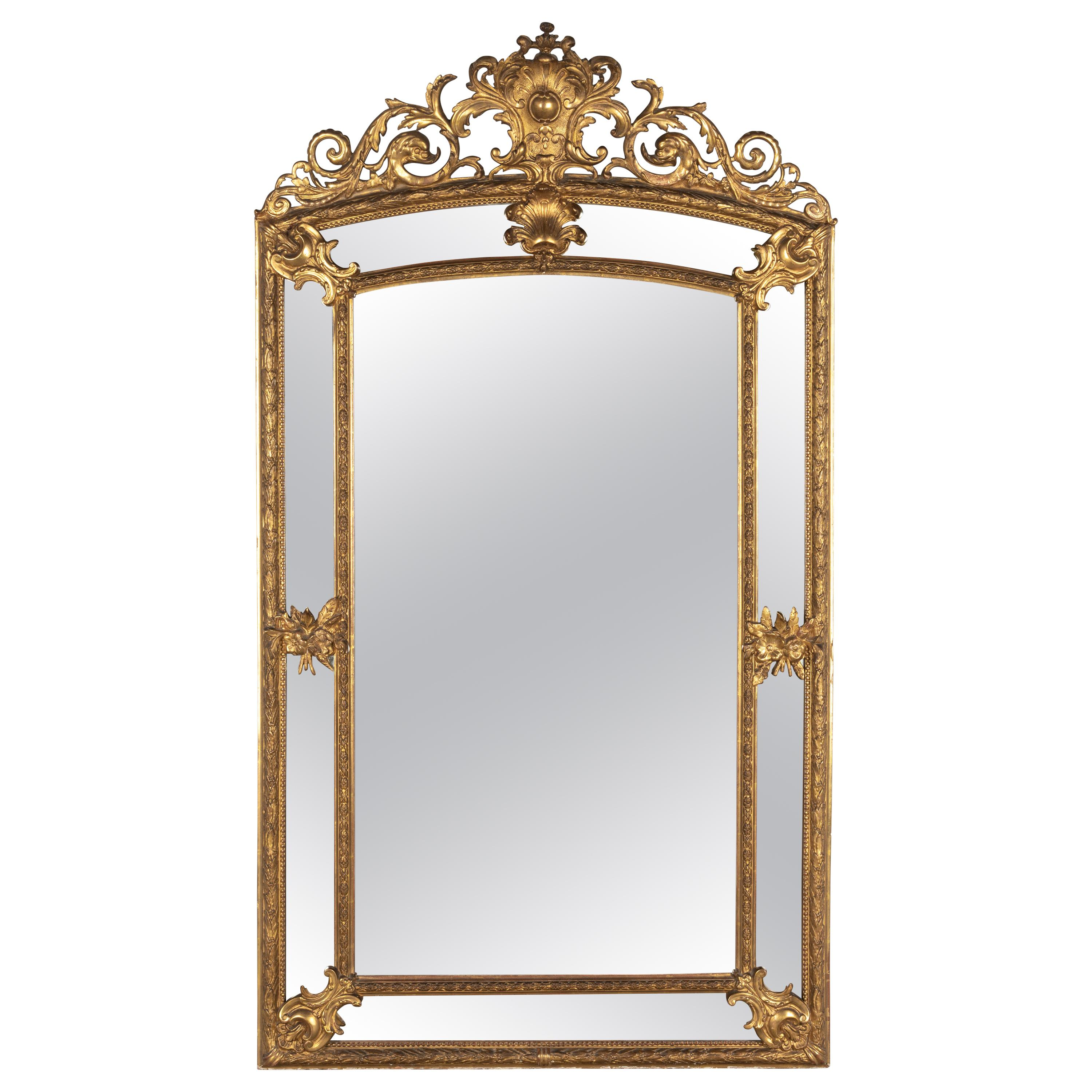 19th Century French Louis XV Style Gilded Parclose Mirror