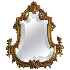 19th Century French Louis XV Style Gilt Bronze and Faceted Crystal Glass Mirror