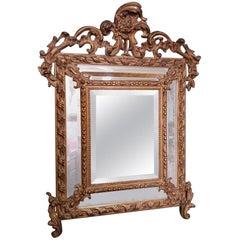 19th Century French Louis XV Style Gilt Plaster Mirror