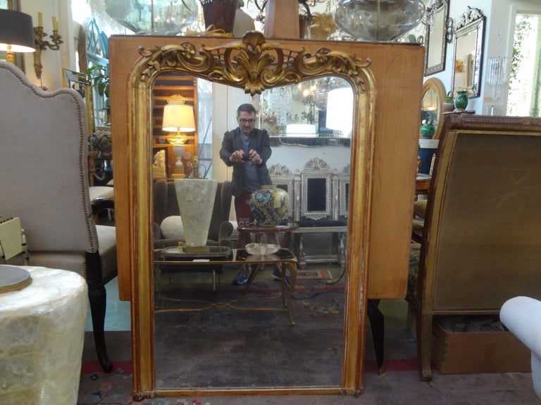 19th Century French Louis XV Style Giltwood Mirror For Sale 5