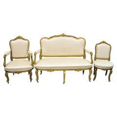 19th Century French Louis XV Style Gold Giltwood 3-Piece Parlor Salon Suite