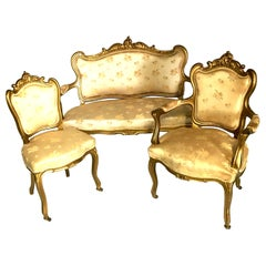 19th Century French Louis XV Style Gold Giltwood Three-Piece Rolling Parlor Set