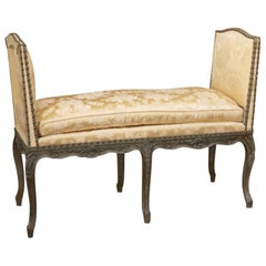 19th Century French Louis XV Style Hand Carved and Hand Painted Green Bench