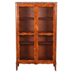19th Century French Louis XV Style Inlaid Bookcase Bibliotheque Cabinet