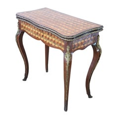 19th Century French Louis XV Style Marquetry Wood Game Table with Roulette Set