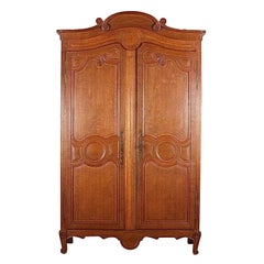 19th Century French Louis XV Style Oak Armoire