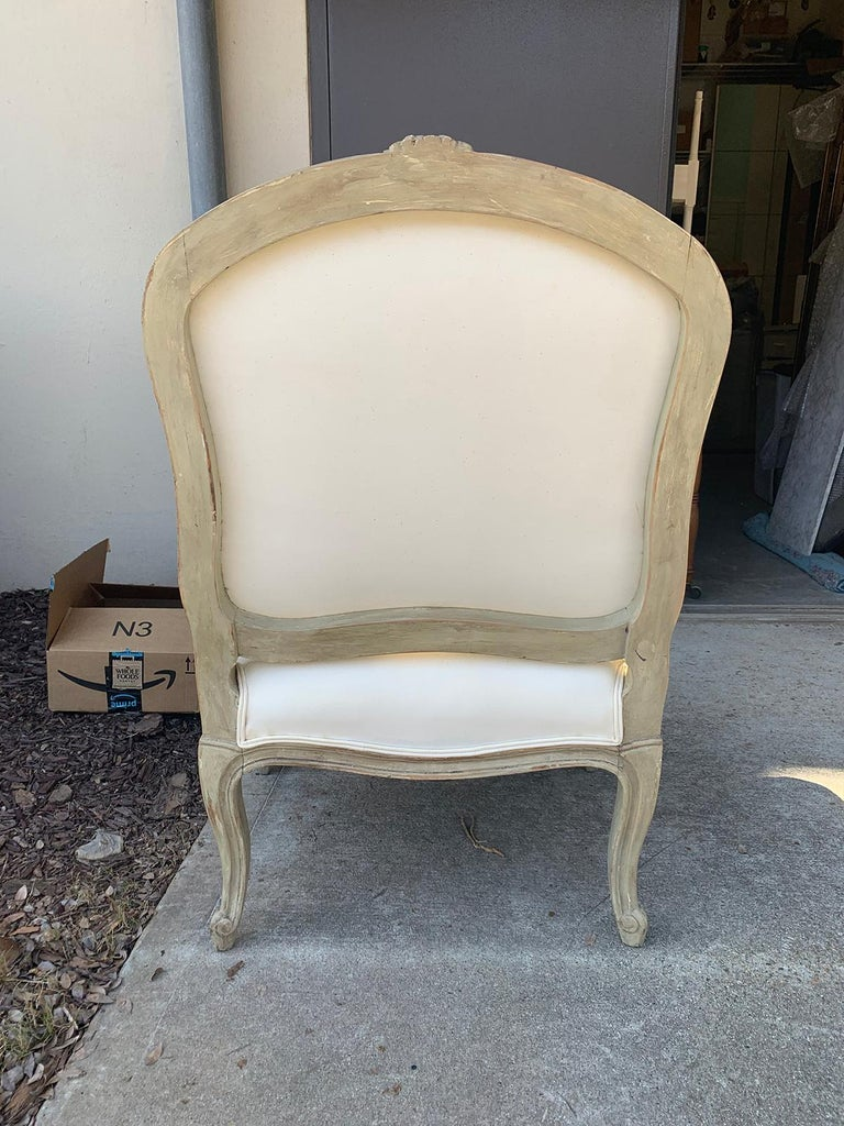 19th Century French Louis XV Style Painted Fauteuil For Sale 1