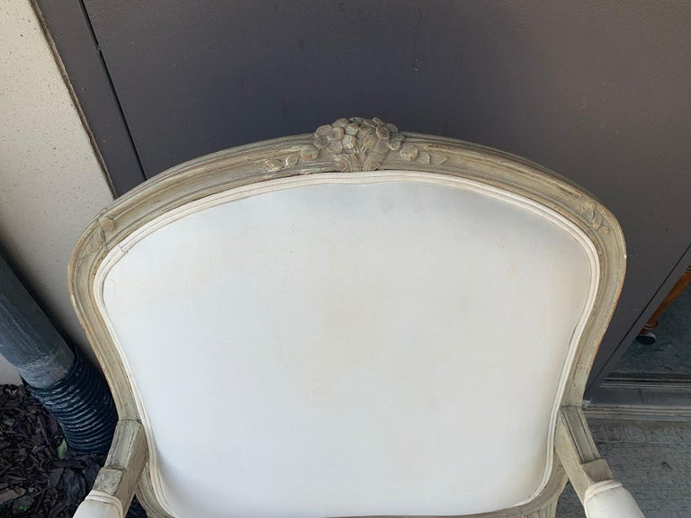 19th Century French Louis XV Style Painted Fauteuil For Sale 3