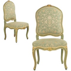 19th Century French Louis XV Style Pair of Green Painted Antique Side Chairs