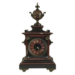 19th Century French Louis XV Style Rouge and Black Marble Library Clock