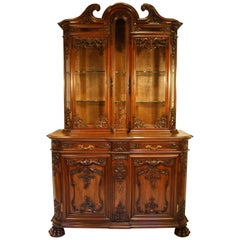 19th Century French Louis XV Walnut Bibliotheque Vitrine