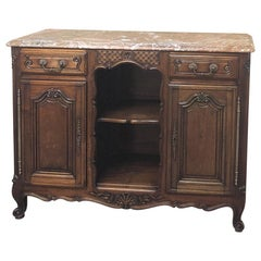 19th Century French Louis XV Walnut Marble-Top Buffet