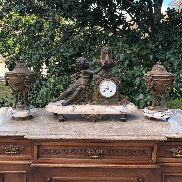 Hand-Crafted 19th Century French Louis XVI 3-Piece Mantel Clock Set after Moreau For Sale