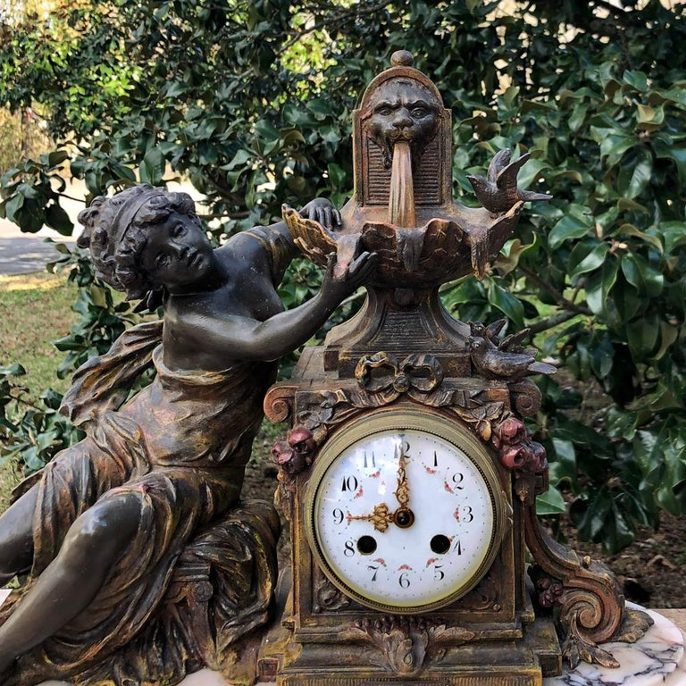19th Century French Louis XVI 3-Piece Mantel Clock Set after Moreau In Good Condition For Sale In Dallas, TX