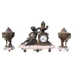 19th Century French Louis XVI 3-Piece Mantel Clock Set after Moreau