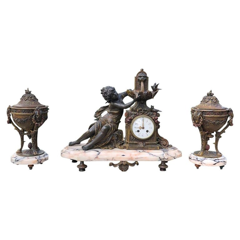 19th Century French Louis XVI 3-Piece Mantel Clock Set after Moreau For Sale