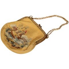 19th Century French Louis XVI Aubusson Ladies Purse with Brass Strap and Lock