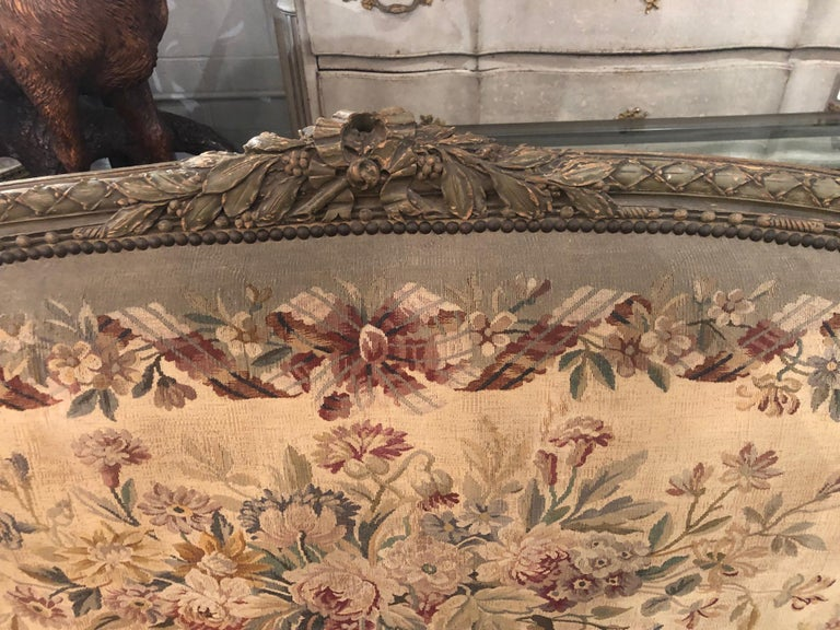 Hand-Carved 19th Century French Louis XVI Aubusson Settee For Sale