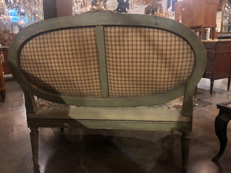 19th Century French Louis XVI Aubusson Settee In Good Condition For Sale In Dallas, TX