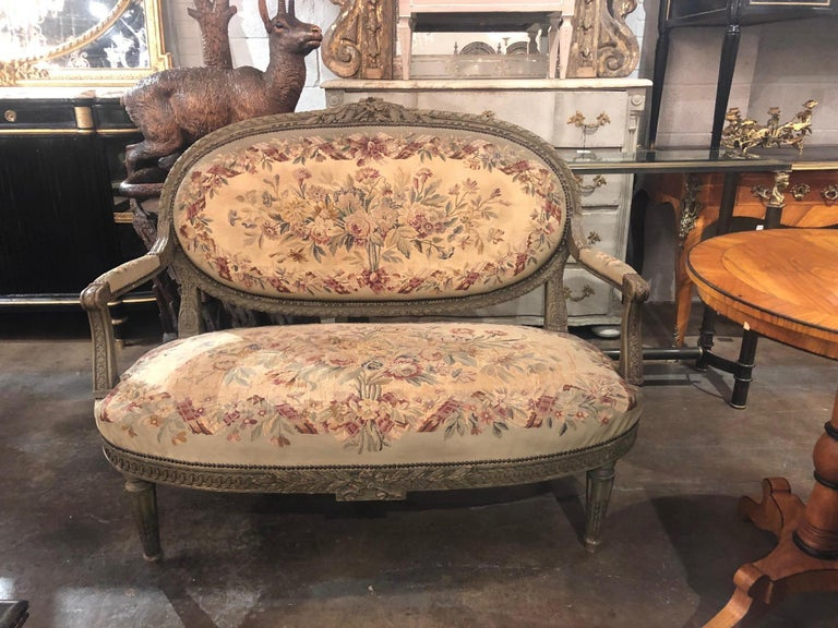 Tapestry 19th Century French Louis XVI Aubusson Settee For Sale