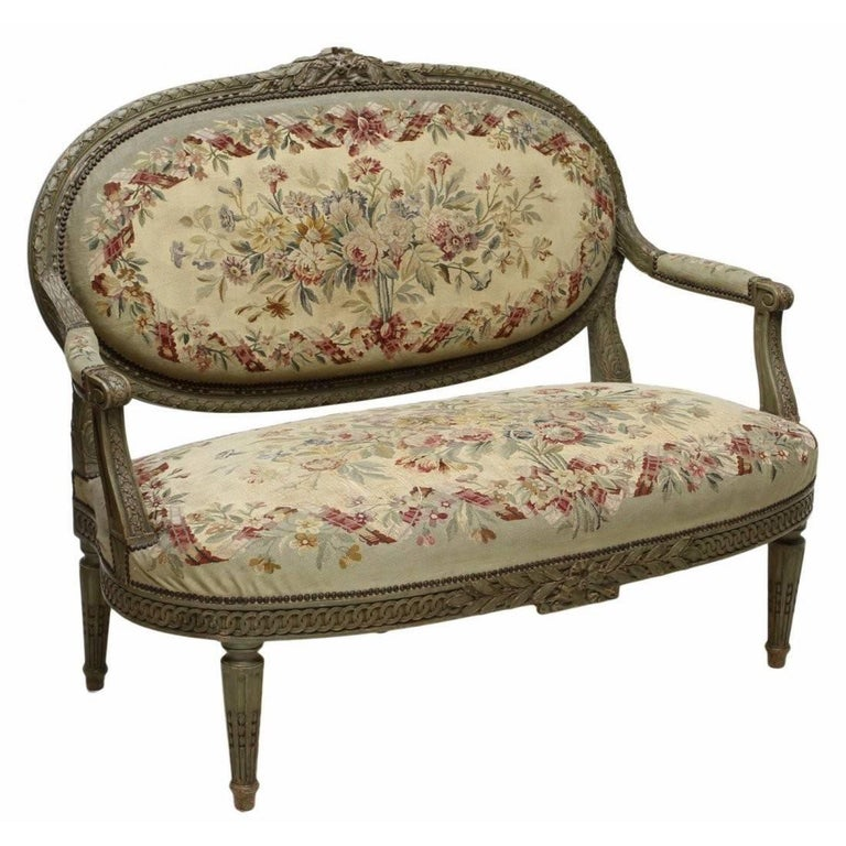 19th Century French Louis XVI Aubusson Settee For Sale