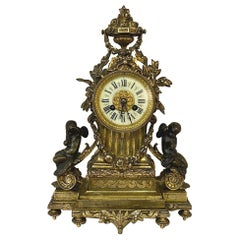 19th Century French Louis XVI Bronze D'Or Mantel Clock