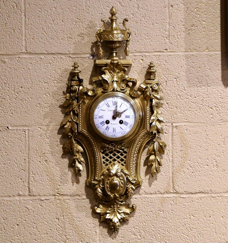 Gilt 19th Century French Louis XVI Bronze Dore Cartel Wall Clock Signed Charpentier For Sale