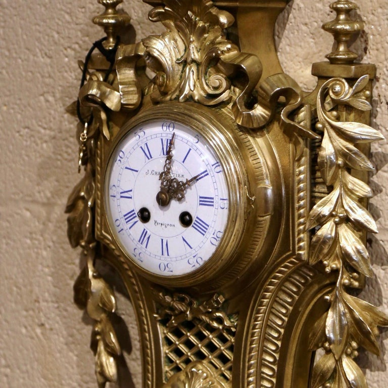 19th Century French Louis XVI Bronze Dore Cartel Wall Clock Signed Charpentier For Sale 1