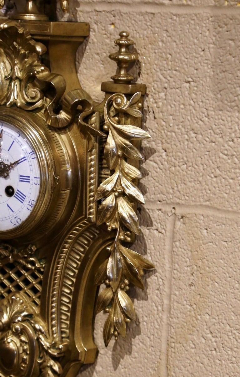 19th Century French Louis XVI Bronze Dore Cartel Wall Clock Signed Charpentier For Sale 3