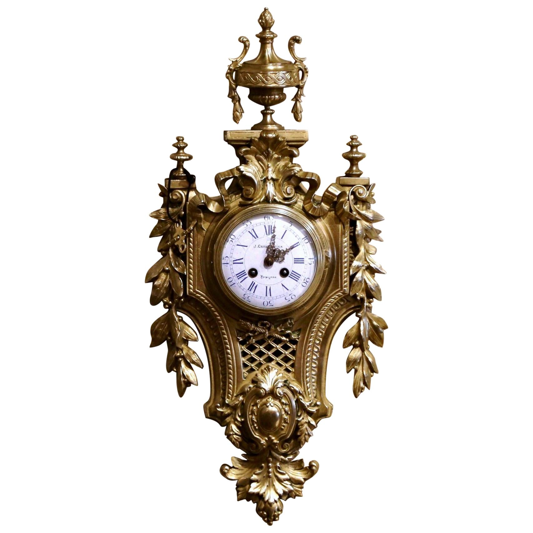 19th Century French Louis XVI Bronze Dore Cartel Wall Clock Signed Charpentier