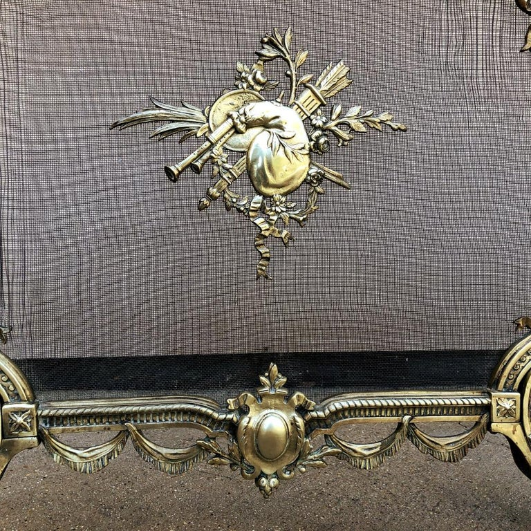 19th Century French Louis XVI Bronze Fire Screen For Sale 5