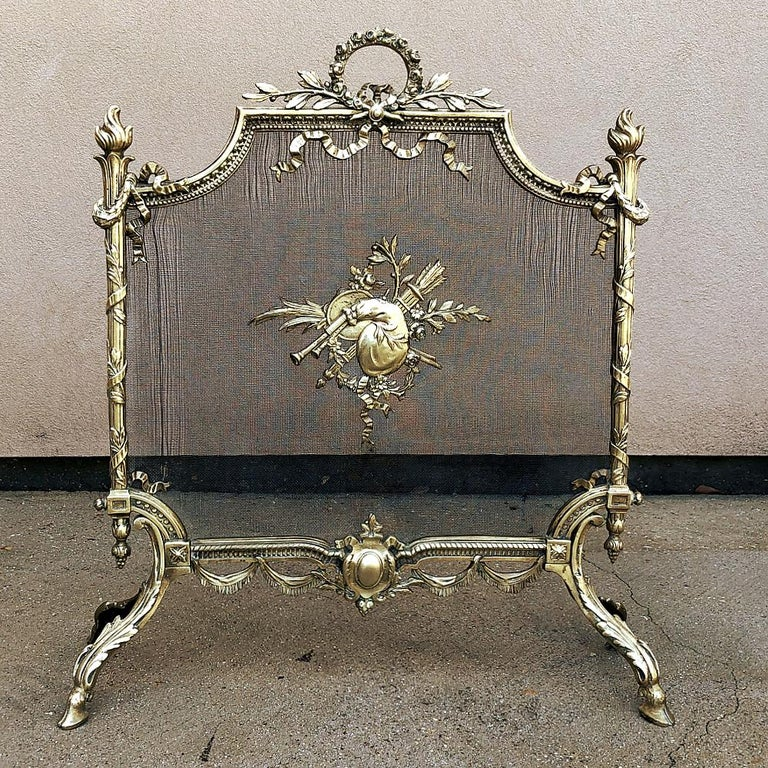 Late 19th Century 19th Century French Louis XVI Bronze Fire Screen For Sale