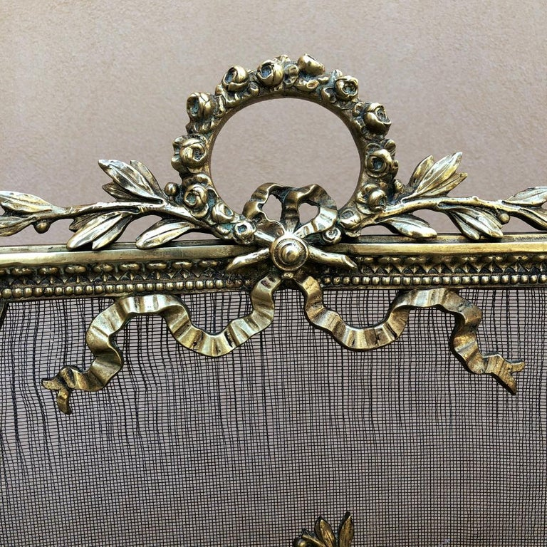 19th Century French Louis XVI Bronze Fire Screen For Sale 3