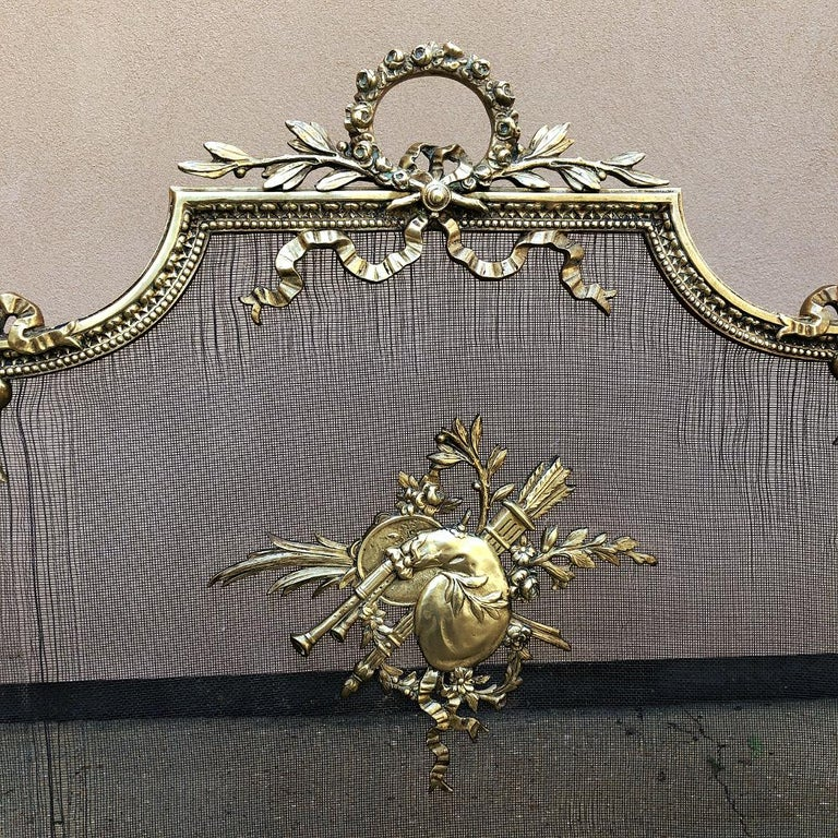 19th Century French Louis XVI Bronze Fire Screen For Sale 4