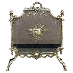 19th Century French Louis XVI Bronze Fire Screen